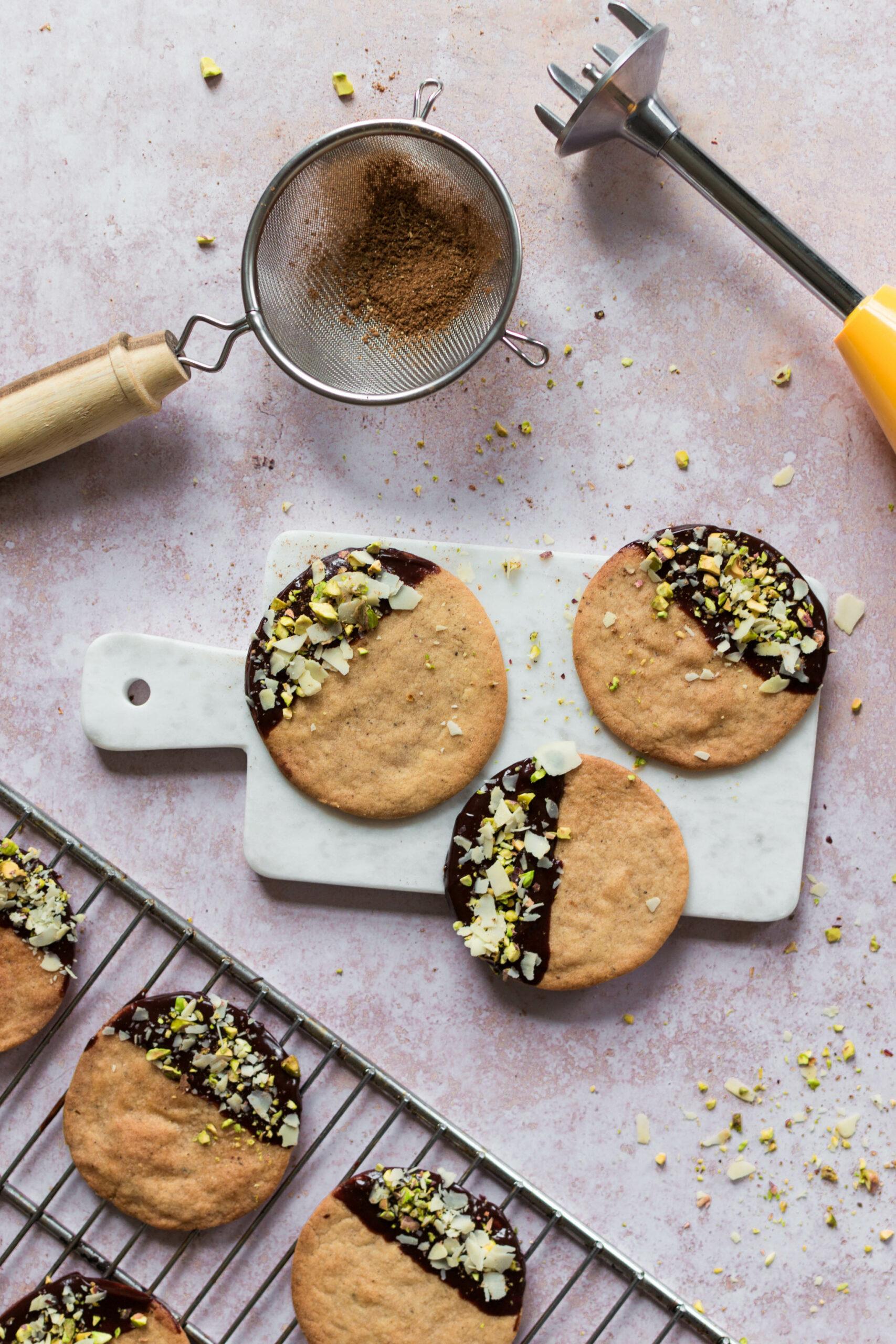 Topshot speculaas met chocolade, pistache en amandel verticaal